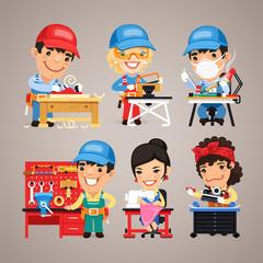 Set of Cartoon Workers at their Work Desks