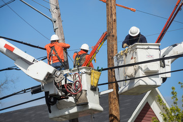 Neighborhood powerline workers