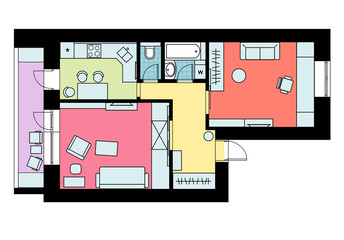The plan of arrangement of furniture one-bedroom apartment with