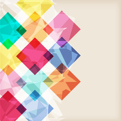 abstract retro background with rhombus with bursting colors