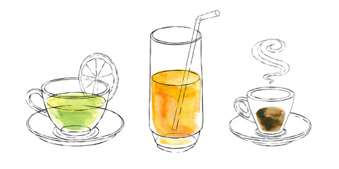 Watercolor drinks in cups, glass tea, juice, coffee. Watercolor.