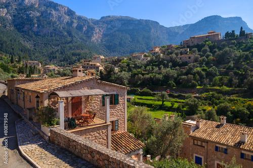 Wall mural Stone houses in Deia mountain village, Majorca island