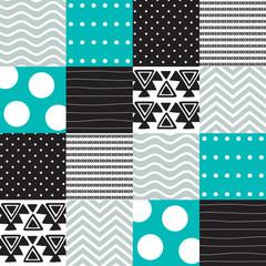 seamless aztec patchwork pattern vector illustration