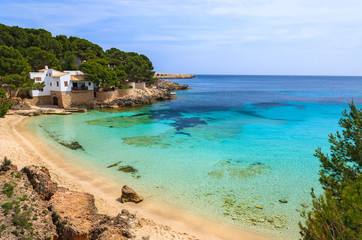 Turquoise sea of Cala Gat beach and bay view, Majorca island