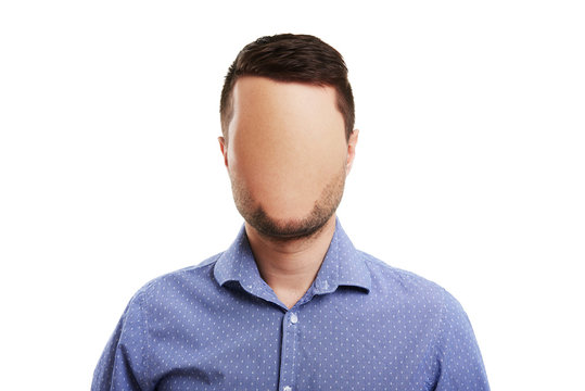 man with blank face