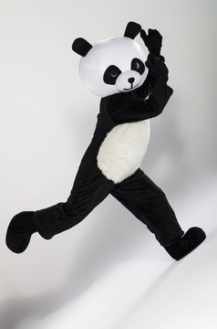 Man in panda costume over white background