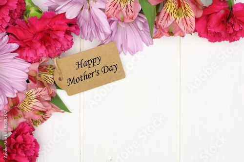 Mother's Day gift tag amongst a corner border of pink flowers