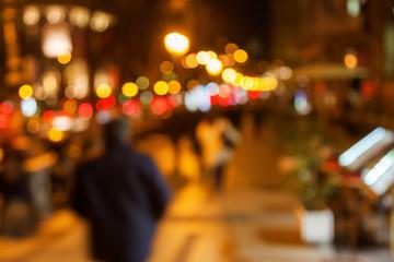out of focus Bild einer Stadtszene bei Nacht
