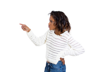 angry young woman pointing finger at someone