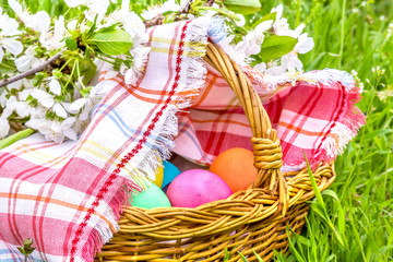 Wicker basket with Easter eggs close up