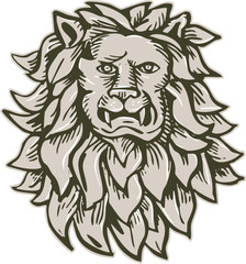 Angry Lion Big Cat Head Etching
