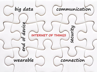 The internet of things words on jigsaw puzzle background