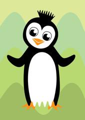 Black and white happy penguin