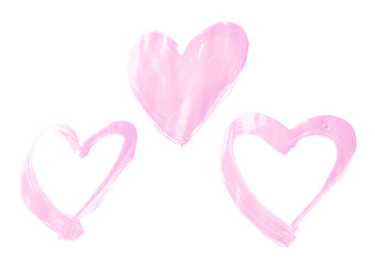 Hearts drawn with the oil paint