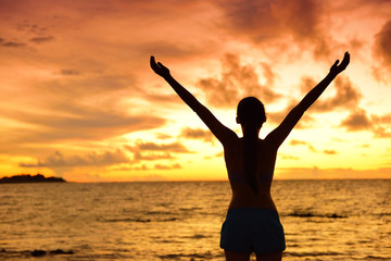Freedom woman silhouette living a happy free life