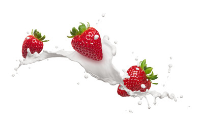 Wall Mural - strawberries with milk splash