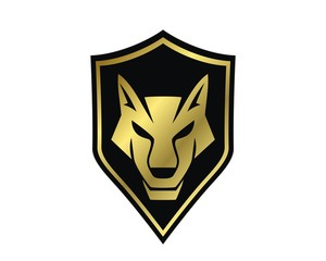 wolf gold shield emblem logo vector