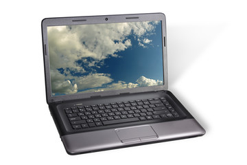 Notebook with sky on the screen