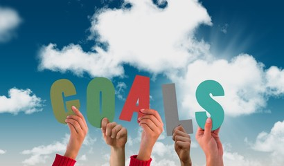 Image of hands holding up goals