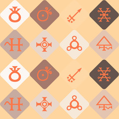 seamless background with symbols of the alchemical processes
