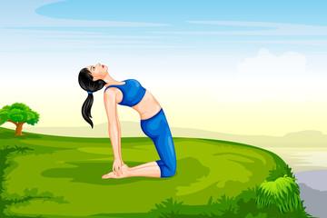 Lady practising yoga for wellness