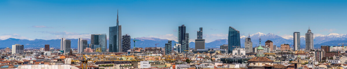 Spoed Fotobehang Milan Milan city Italy Panoramic view of new skyline with skyscrapers Panorama view