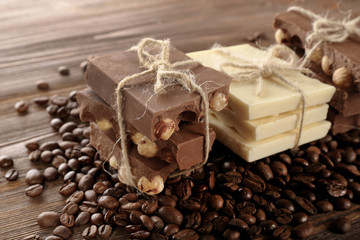 Stack of tied chocolate with coffee beans