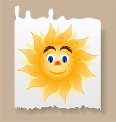 Piece of paper with yellow, smiling sun with blue eyes
