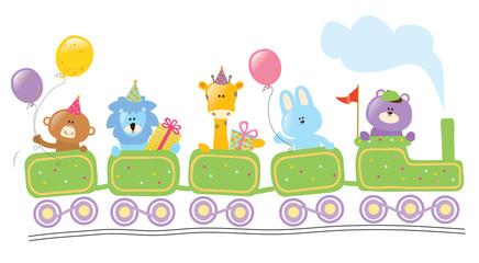 Animals riding birthday train