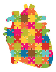 Human Heart Jigsaw Puzzle Pieces Abstract Vector