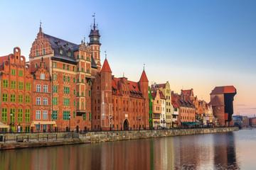 Winter sunrise scenery of Gdansk old town