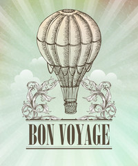 Aeronautic adventure. Vector vintage illustration with balloon