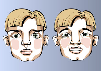 Illustration of different facial expressions of a man with blond