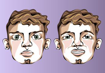 Illustration of different facial expressions of a man with a