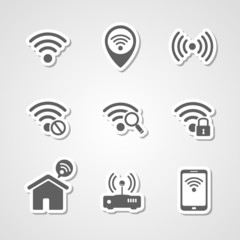 Wireless local network internet access point icons set