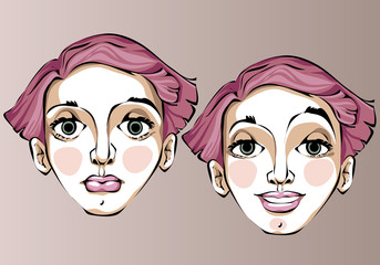 Illustration of different facial expressions of a woman with