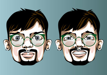 Illustration of different facial expressions a man with glasses