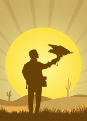 falconry in the desert