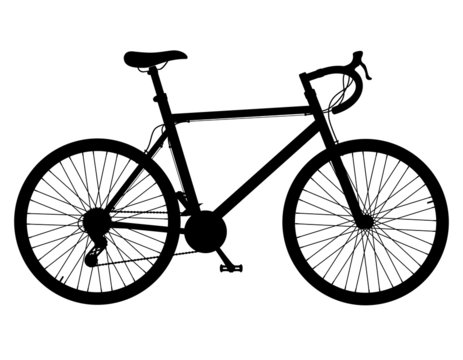 road bike with gear shifting black silhouette vector illustratio