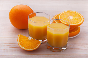 Glass of freshly pressed orange juice