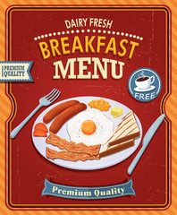 Vintage breakfast poster design with bacon & egg