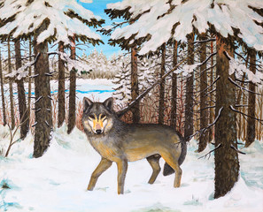 oil painting - wolf in the pine forest, winter, colorful picture