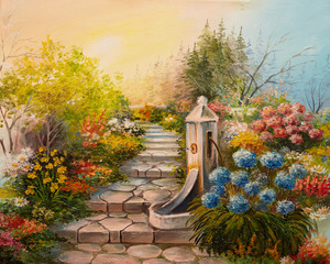 Oil Painting - stone stairs in the forest - fototapety na wymiar