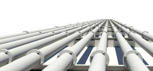 Many white industrial pipes with shadow. Isolated
