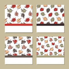 set of four cards with autumn theme