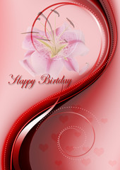 Bright red curved wave with Happy Birthday