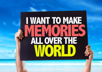 I Want to Make Memories All Over the World card with beach