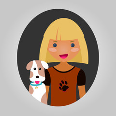 Dog lover character. Vector unisex personage for site.