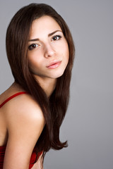 portrait of beautiful brunette with brown eyes