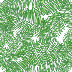 Poster Tropische Bladeren Palm leaves, abstract vector seamless pattern